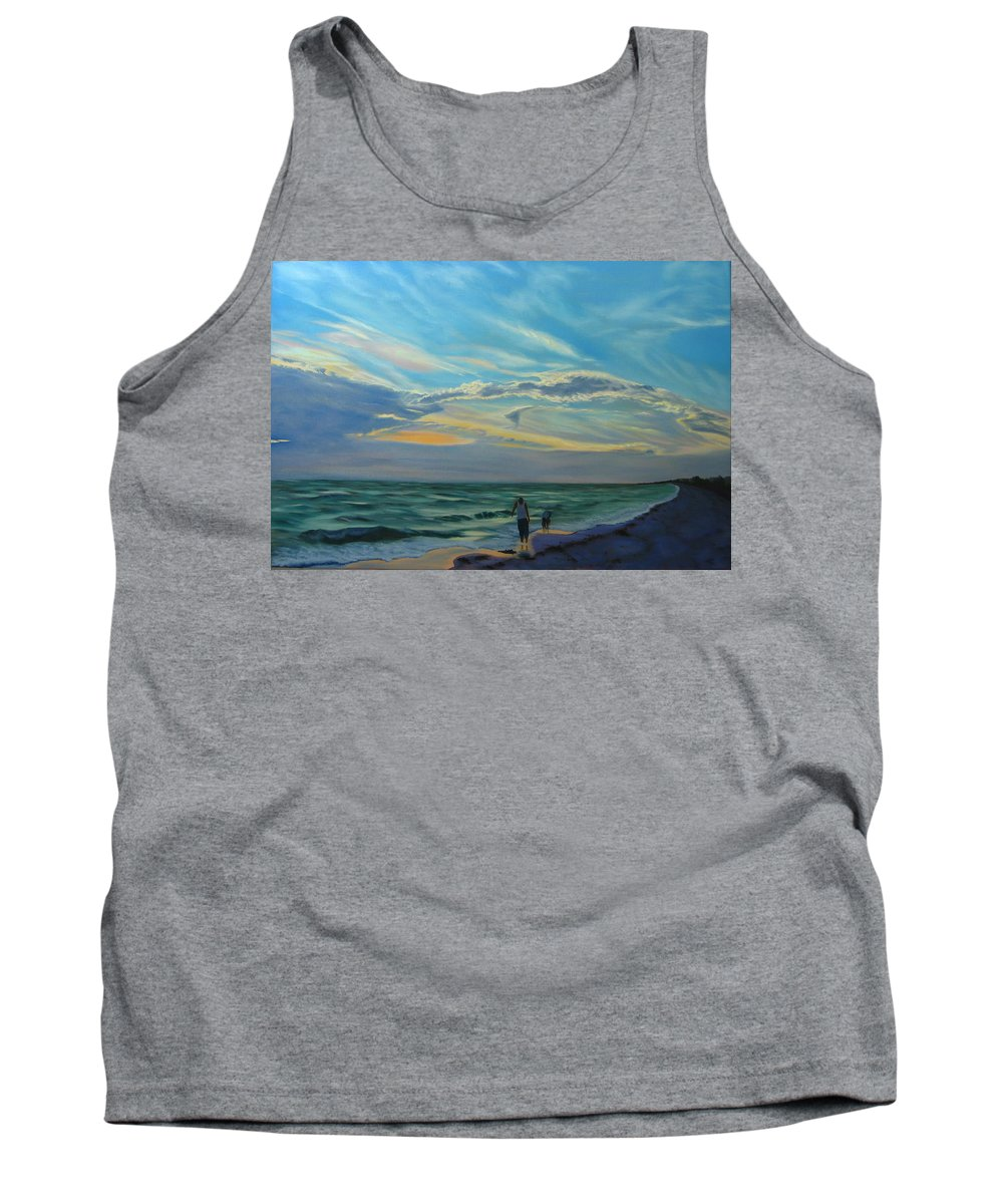 Seascape Tank Top featuring the painting Sunset Treasure Hunt by Lea Novak