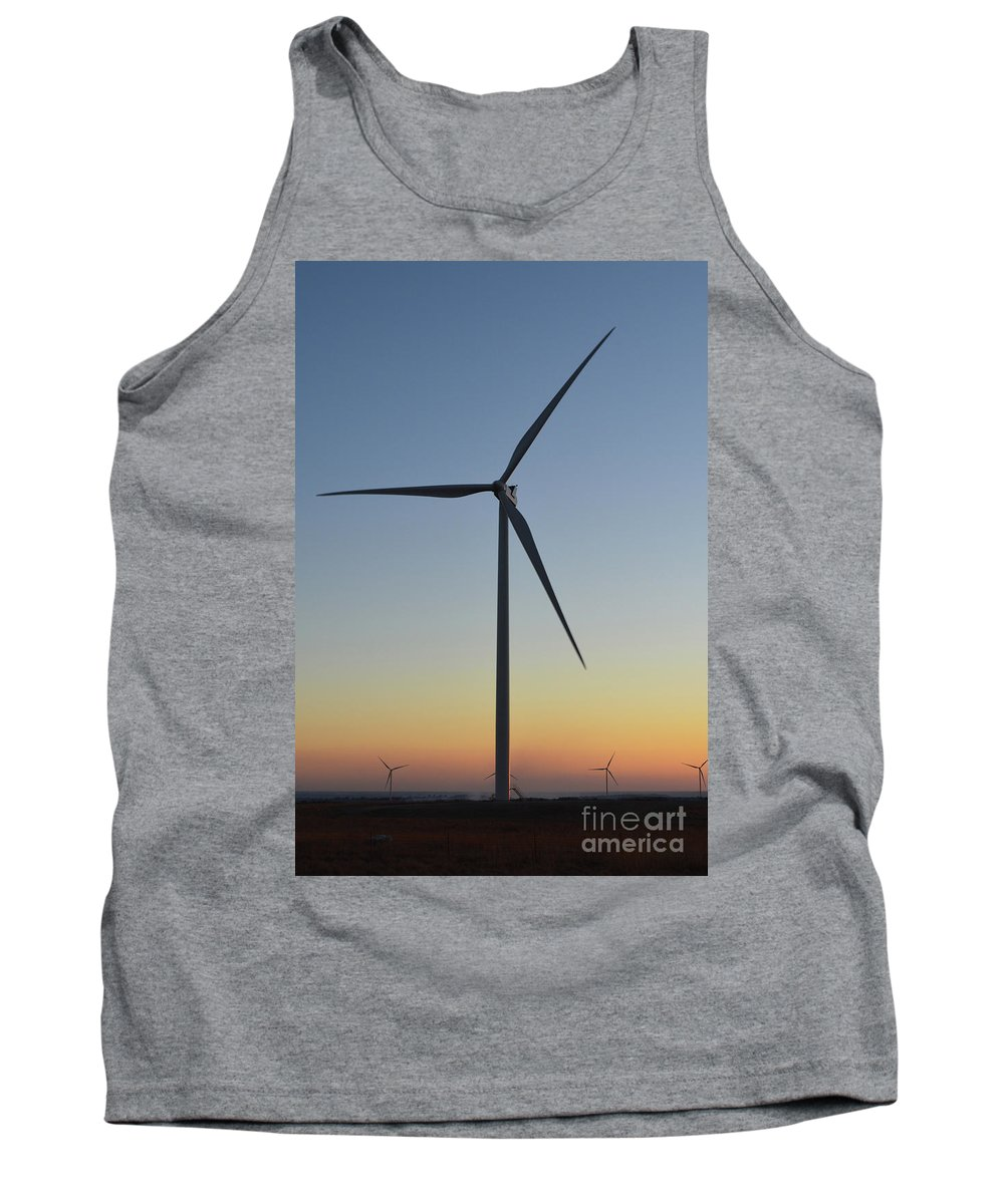 Sunset Tank Top featuring the photograph Sunset Windmill Profile by Meandering Photography