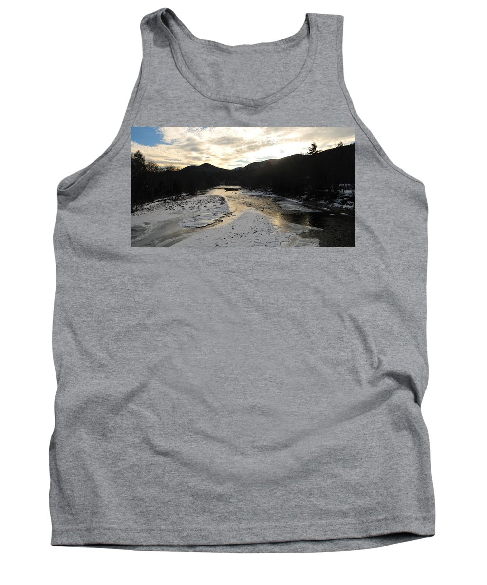 Back Roads Of New Hampshire January 28 Tank Top featuring the photograph Sunsets On The Pemigewasset by Bill Driscoll