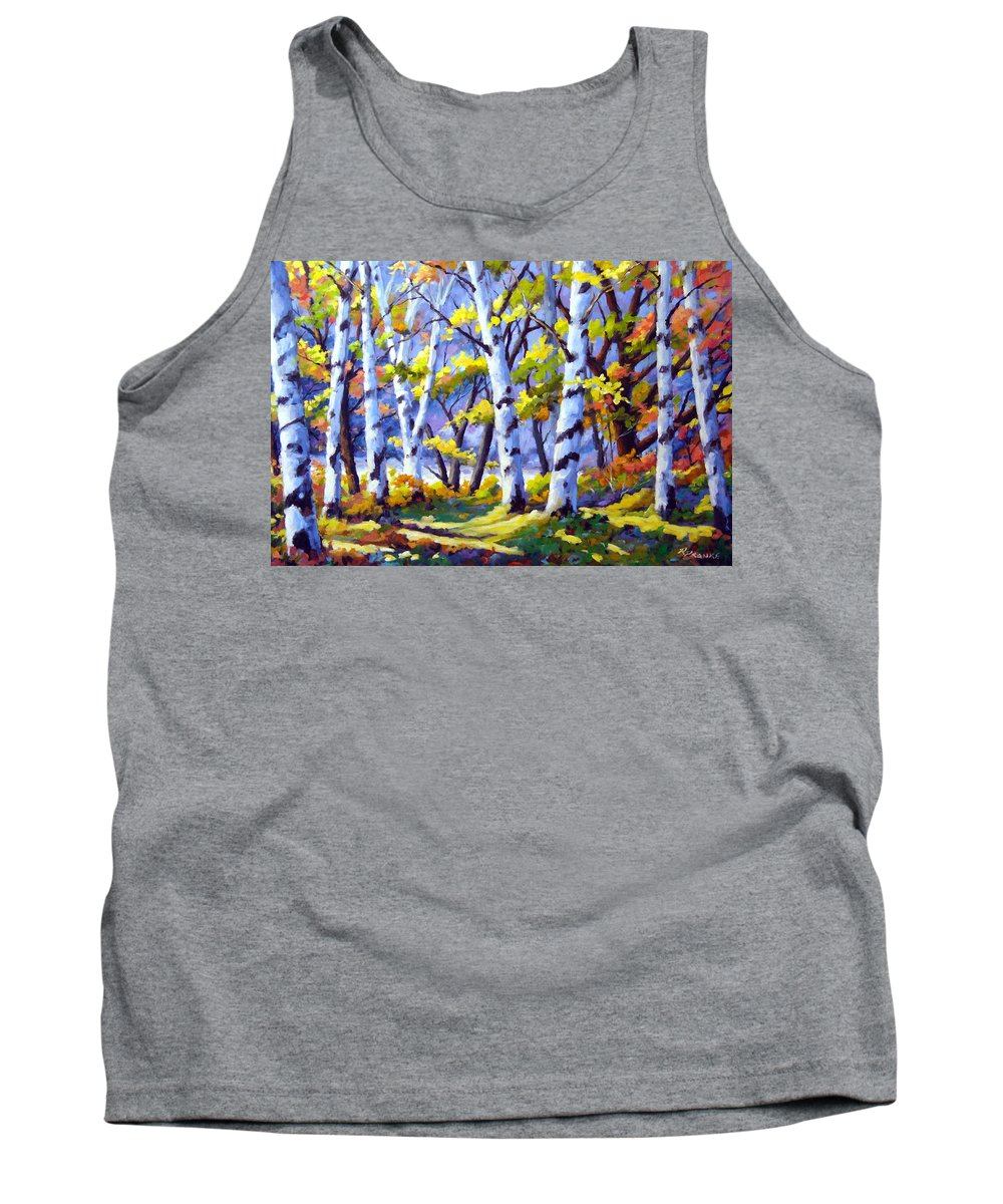 Art Tank Top featuring the painting Sunshine And Birches by Richard T Pranke