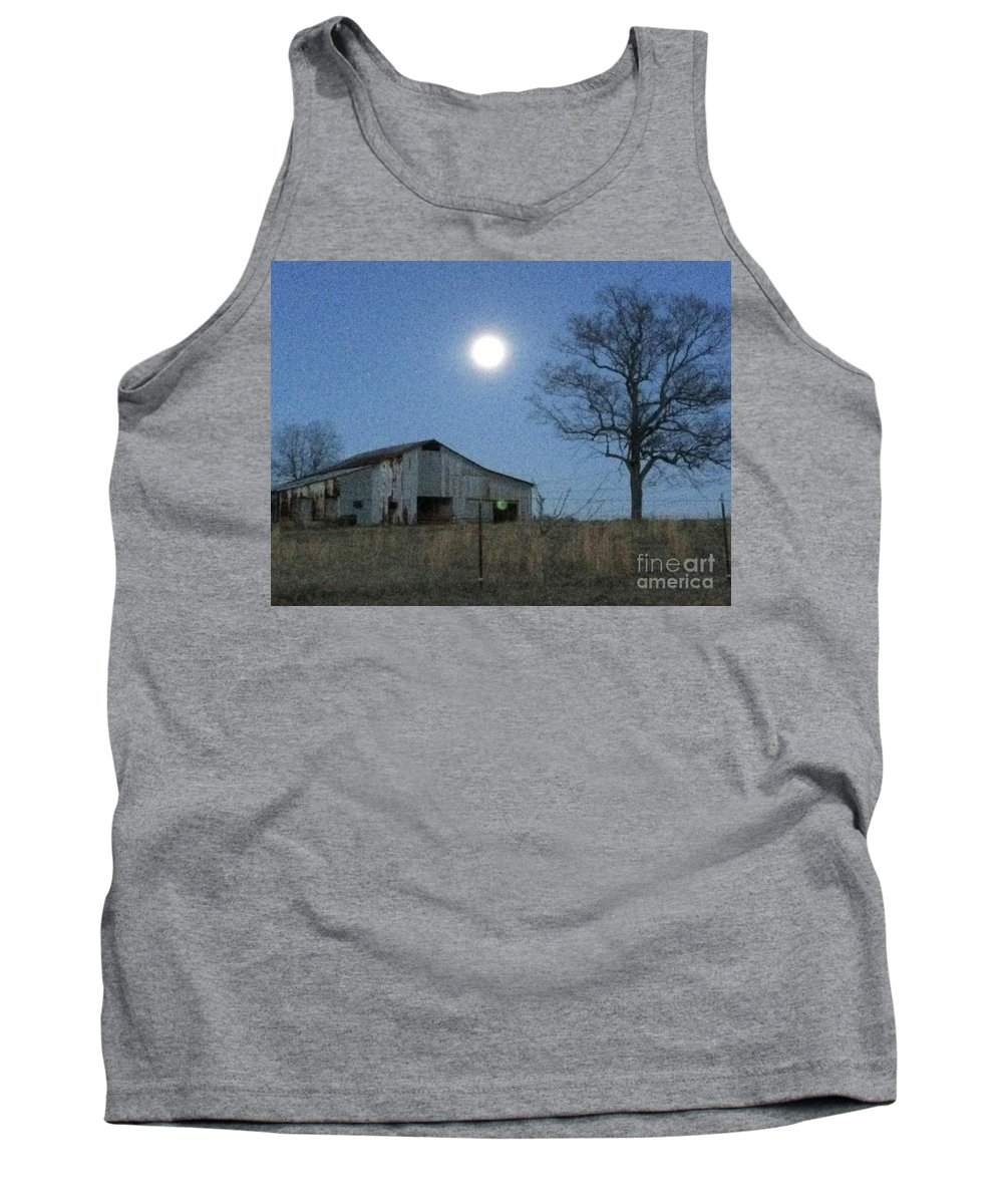 Evening Time Tank Top featuring the photograph Super-moon, Simple Barn by Pete Lester  Art Collector