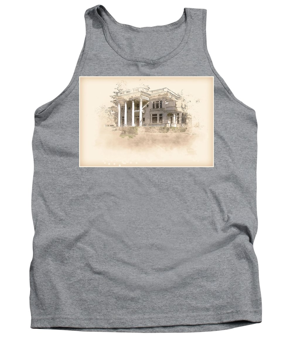 Home Tank Top featuring the digital art Superintendent's Home Drawing by Terry Davis