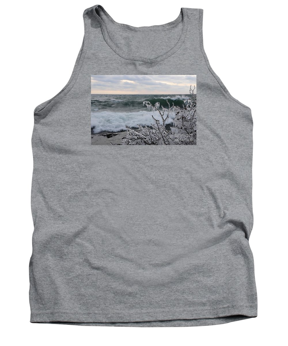 Lake Superior Tank Top featuring the photograph Superior January Waves by Sandra Updyke