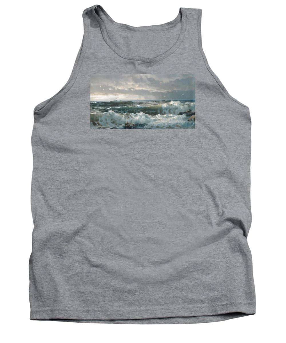 Winslow Homer Tank Top featuring the digital art Surf On The Rocks by Newwwman