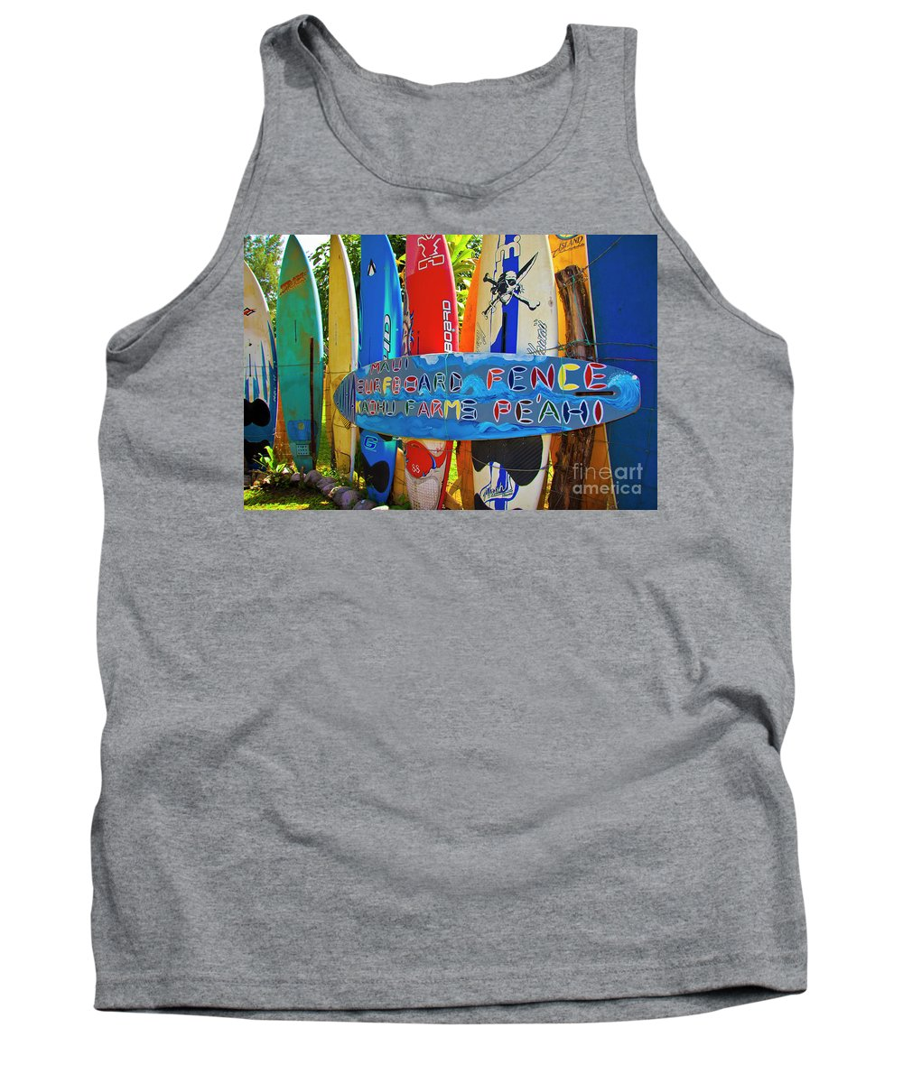Surfboards Tank Top featuring the photograph Surfboard Fence-the Amazing Race by Jim Cazel