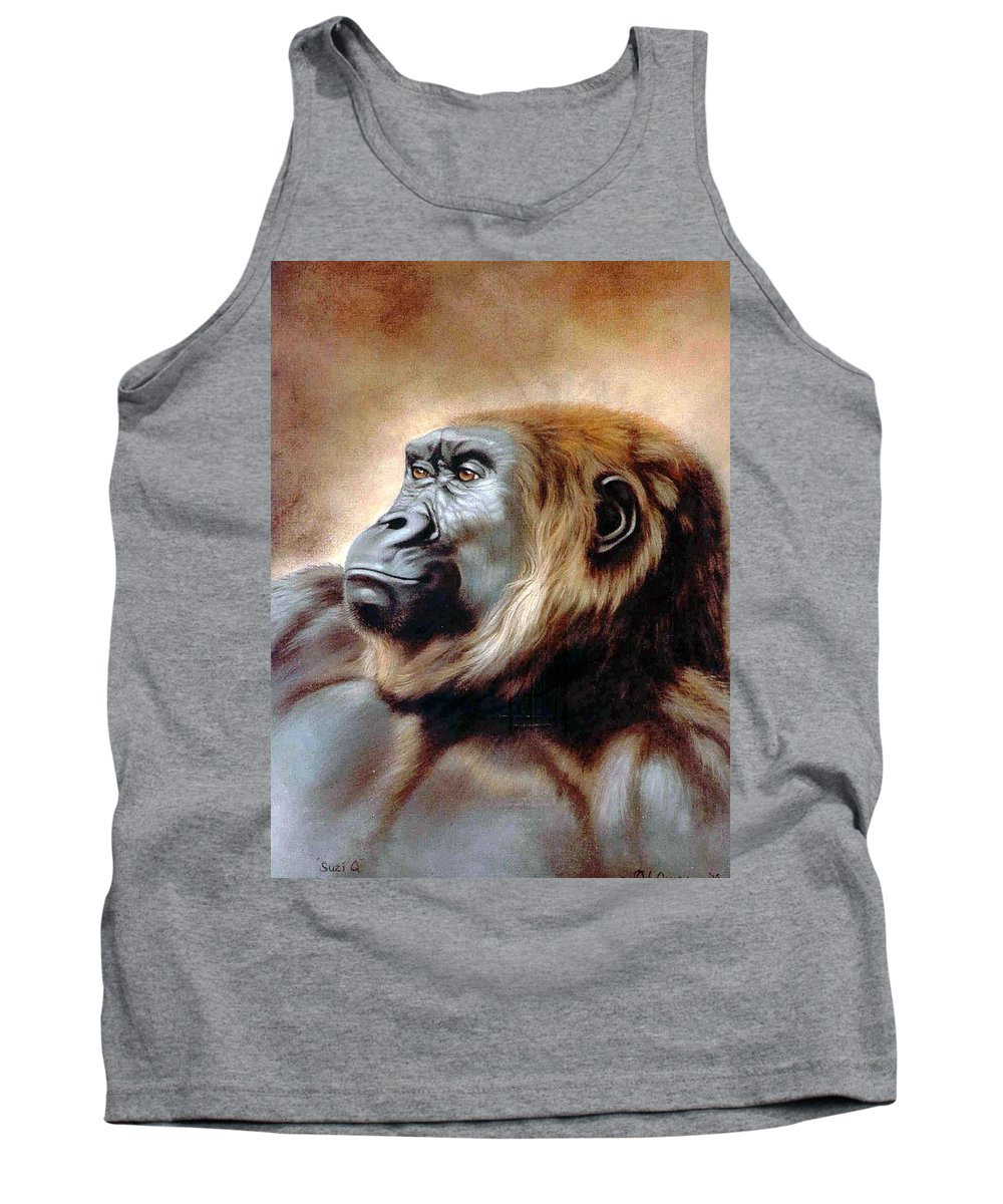 Gorilla Tank Top featuring the painting Suzie Q by Deb Owens-Lowe