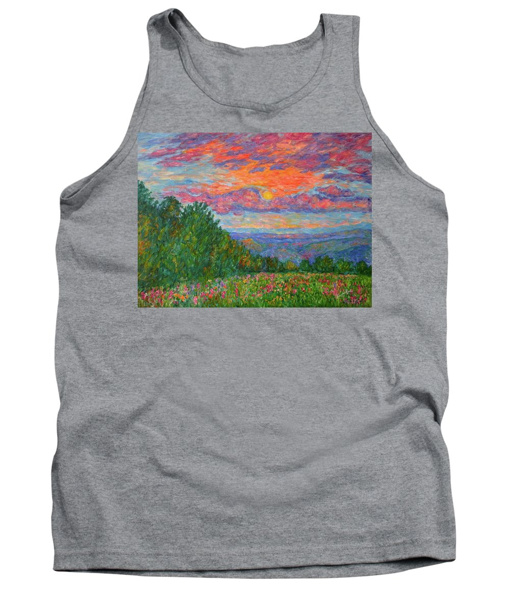 Landscapes For Sale Tank Top featuring the painting Sweet Pea Morning on the Blue Ridge by Kendall Kessler