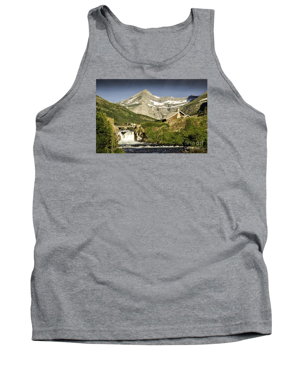 Glacier Tank Top featuring the photograph Swiftcurrent Falls Glacier Park 1 by Timothy Hacker