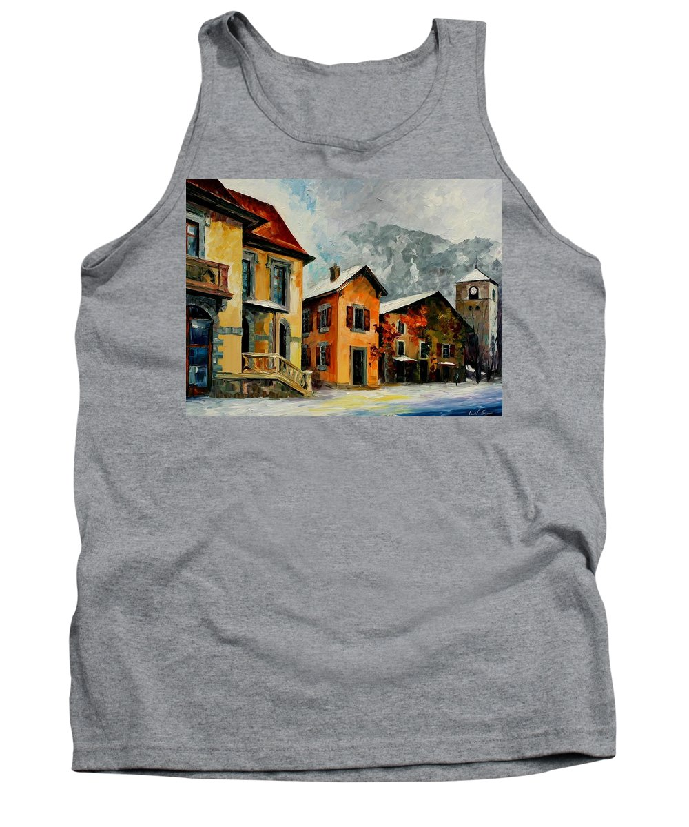 Afremov Tank Top featuring the painting Switzerland - Town In The Alps by Leonid Afremov