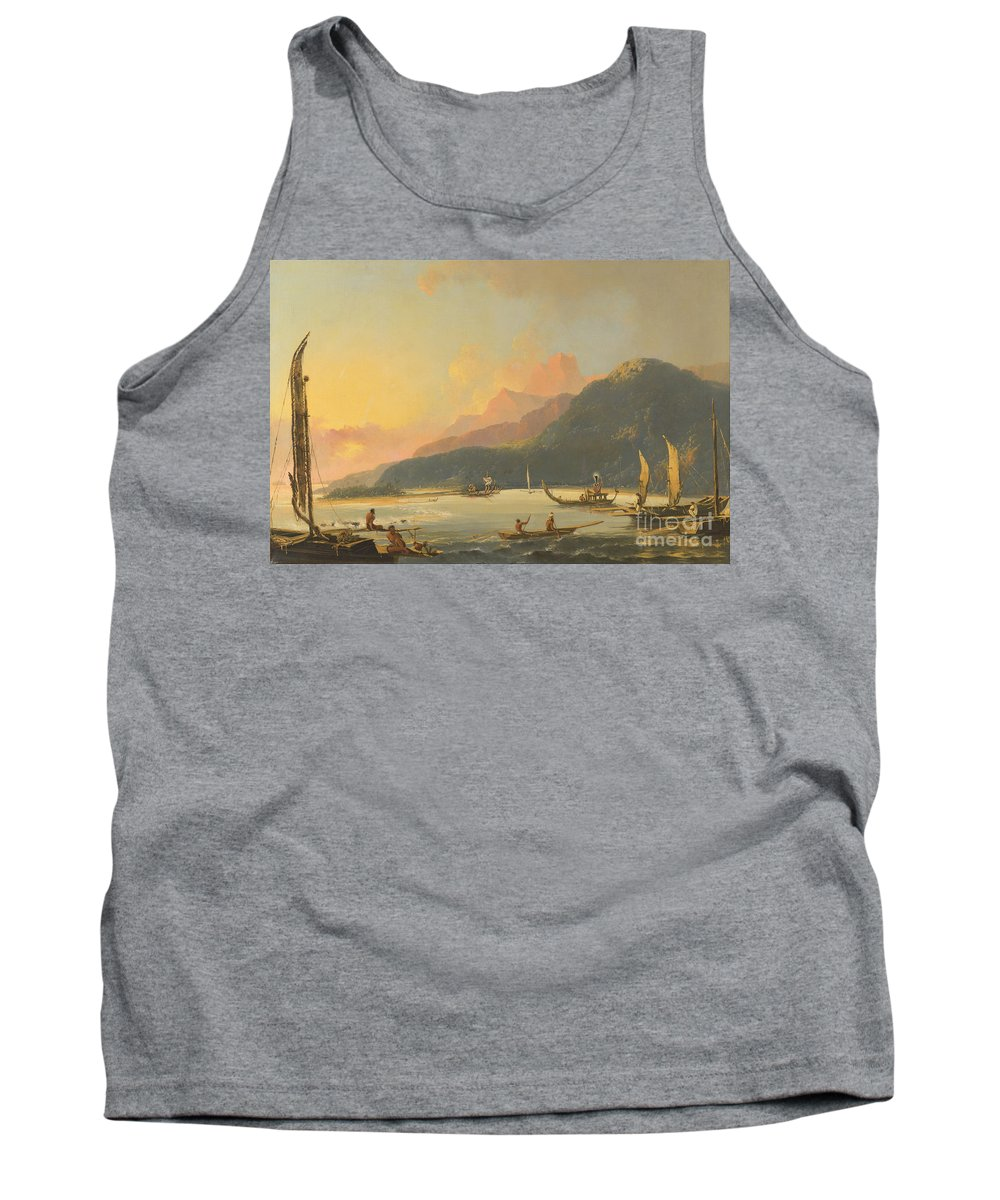 William Hodges Tank Top featuring the painting Tahitian War Galleys In Matavai Bay by Celestial Images