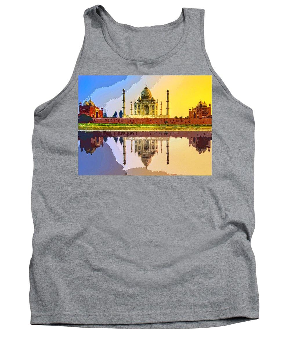 Taj Mahal At Sunrise Tank Top featuring the mixed media Taj Mahal At Sunrise by Dominic Piperata