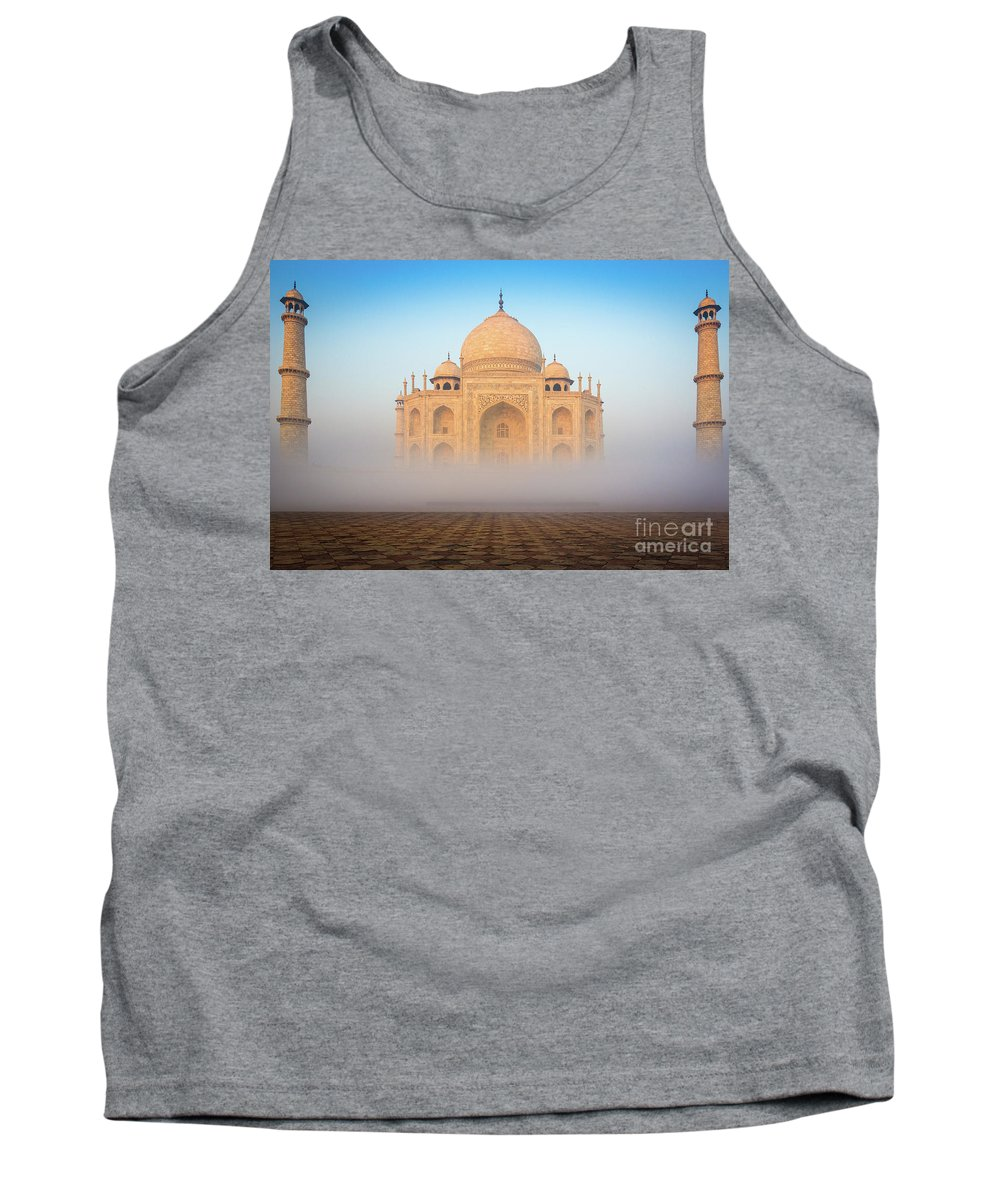 Agra Tank Top featuring the photograph Taj Mahal In The Mist by Inge Johnsson