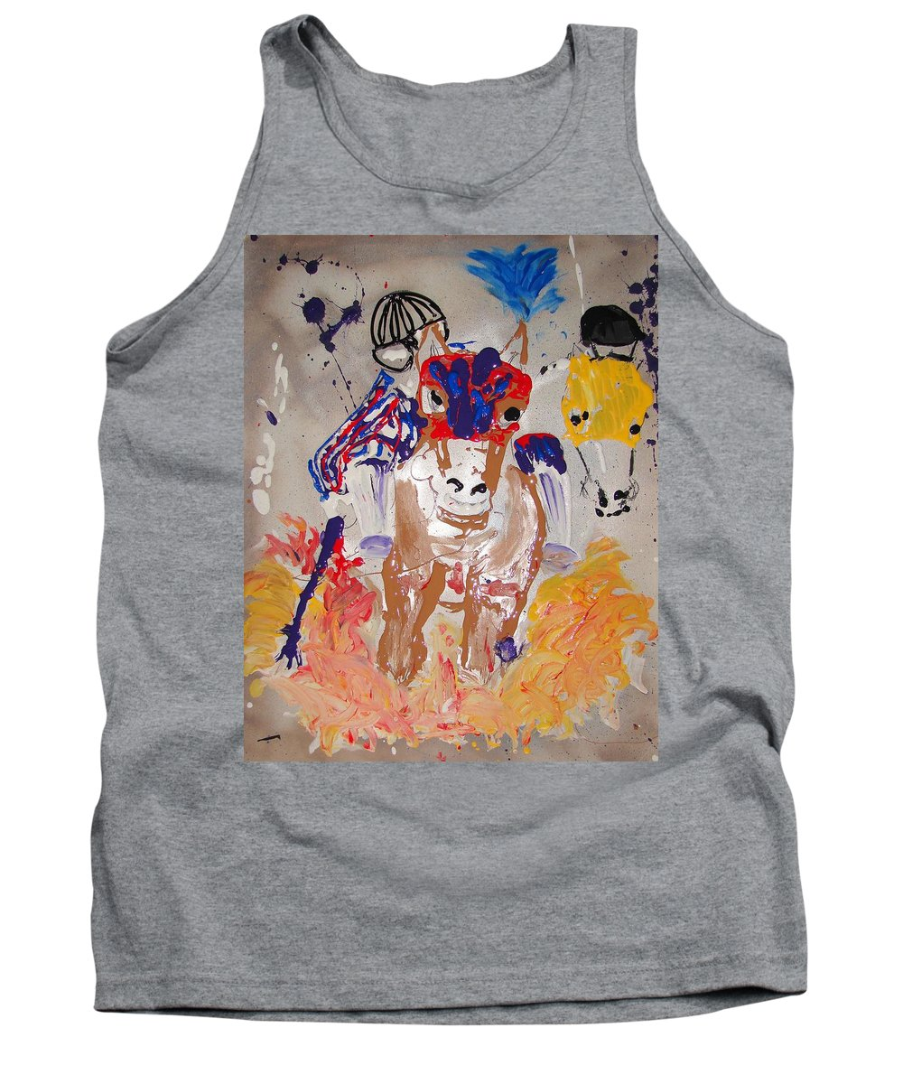 Horse Tank Top featuring the mixed media Taking The Lead by J R Seymour
