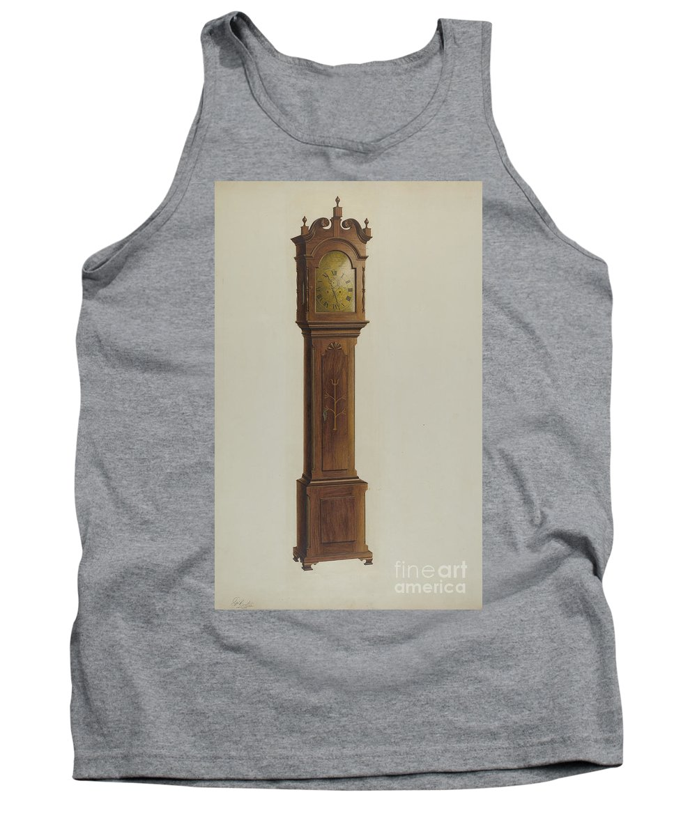 Tank Top featuring the drawing Tall Clock by Ferdinand Cartier