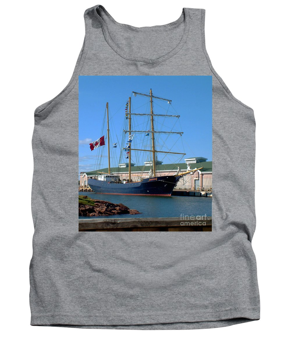 Dock Tank Top featuring the photograph Tall Ship Waiting by RC DeWinter