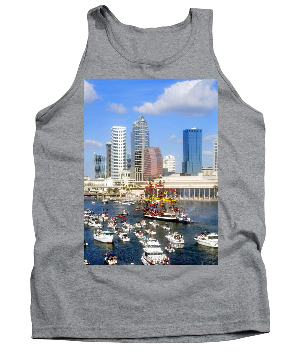 Gasparilla Tank Top featuring the photograph Tampa's Flag Ship by David Lee Thompson