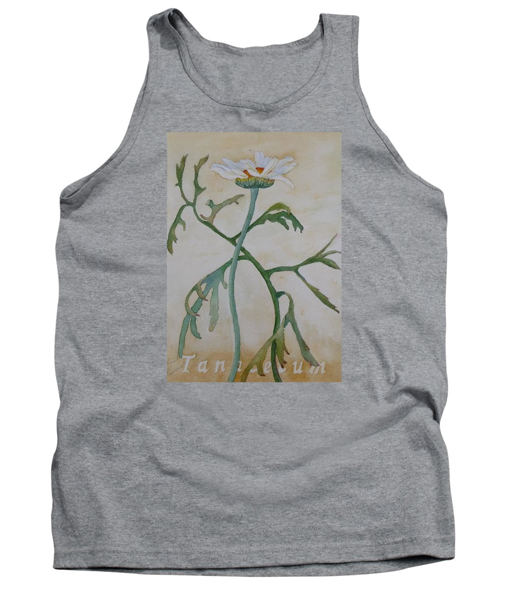 Flower Tank Top featuring the painting Tanacetum by Ruth Kamenev