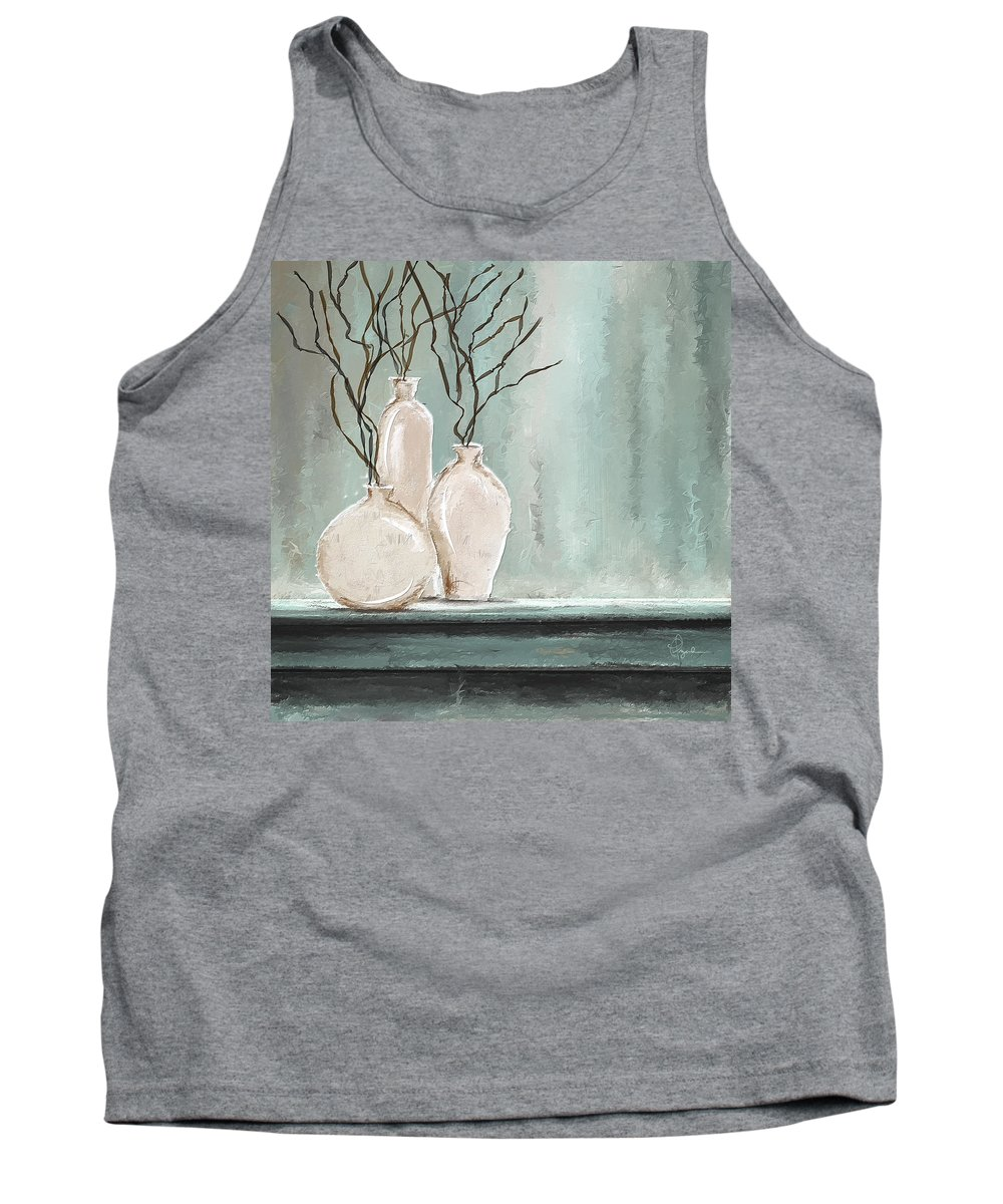 Turquoise Art Tank Top featuring the painting Teal Elegance - Teal And Gray Art by Lourry Legarde