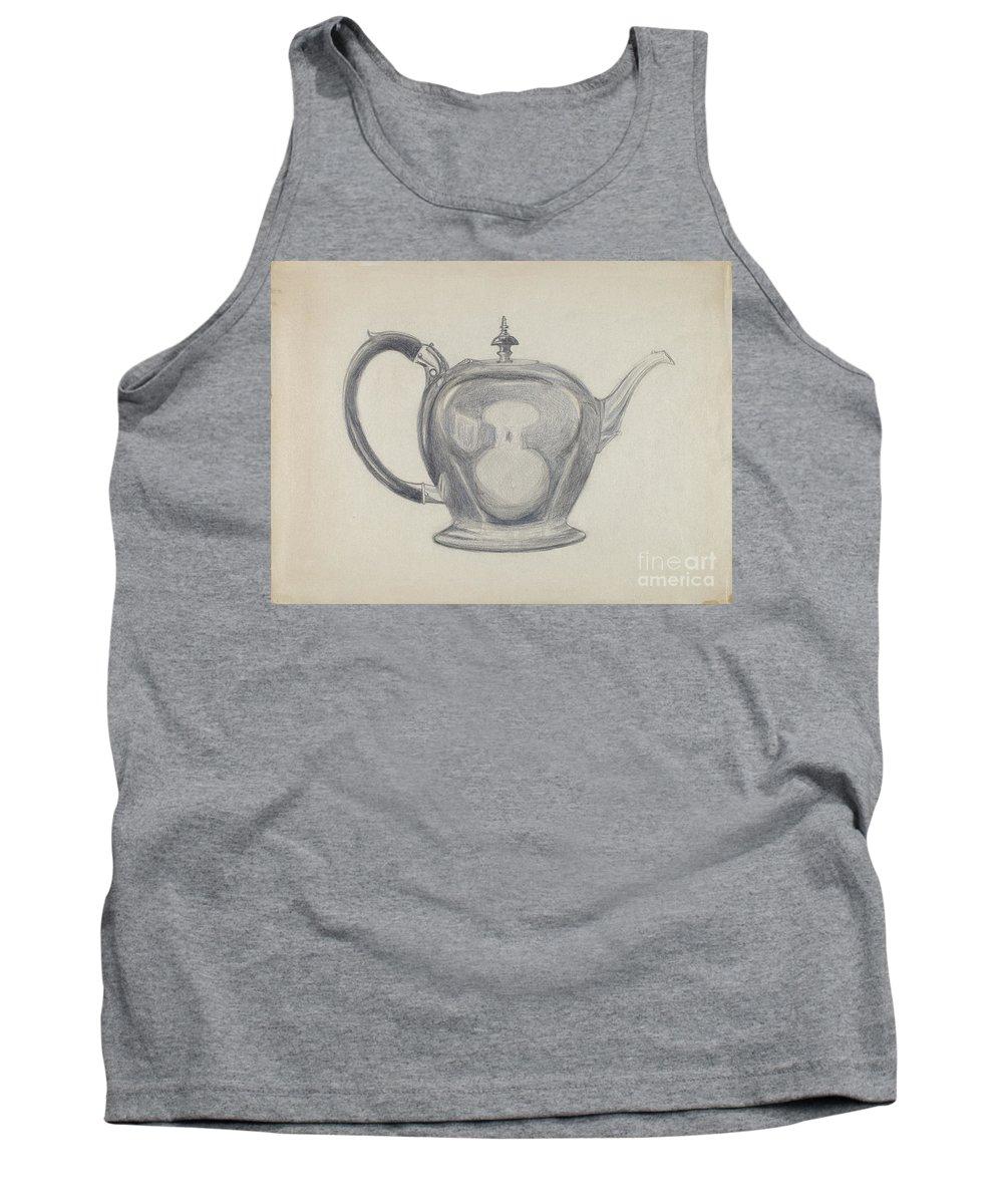 Tank Top featuring the drawing Teapot by John Garay