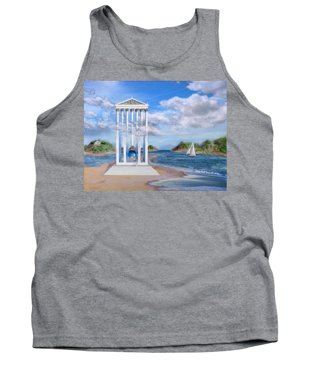 Landscape Tank Top featuring the painting Temple For No One by Steve Karol