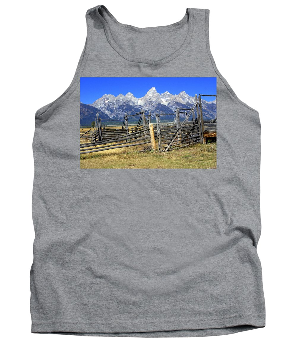 Grand Teton National Park Tank Top featuring the photograph Teton Corral by Marty Koch