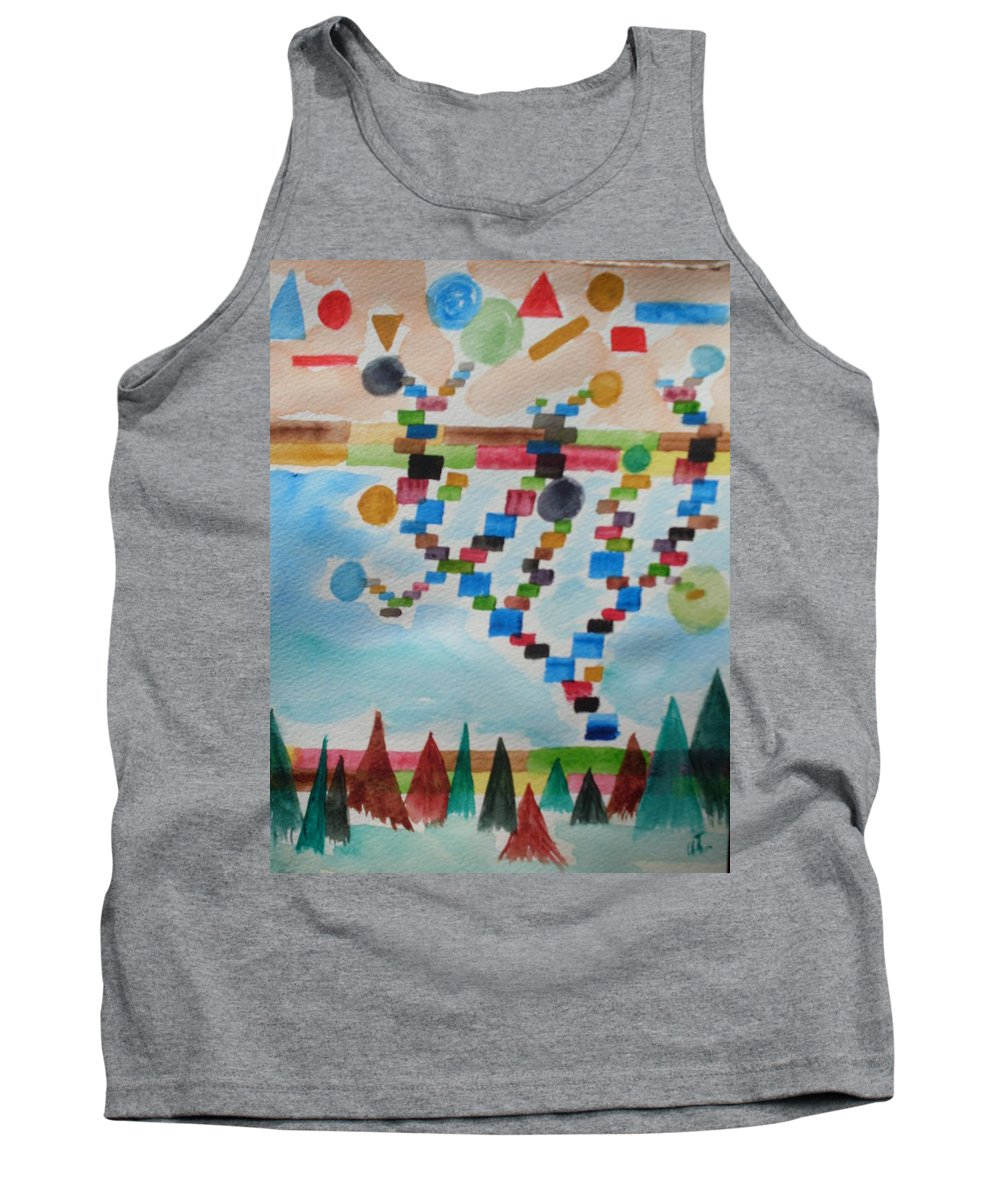 Abstract Tank Top featuring the painting Tetrus Meets Nature by Warren Thompson