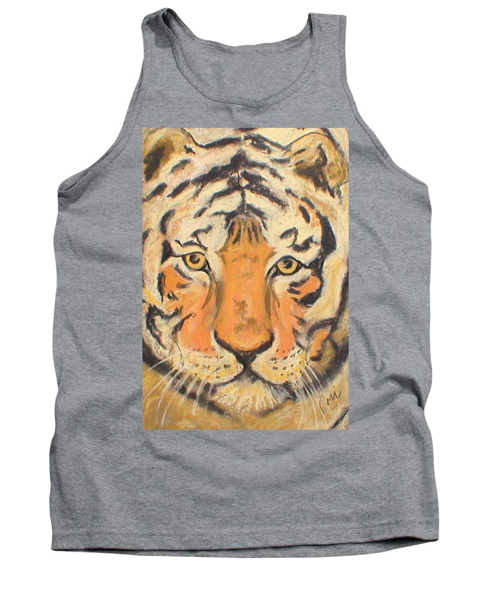 Pastel Tank Top featuring the drawing The Amber Stare by Cori Solomon