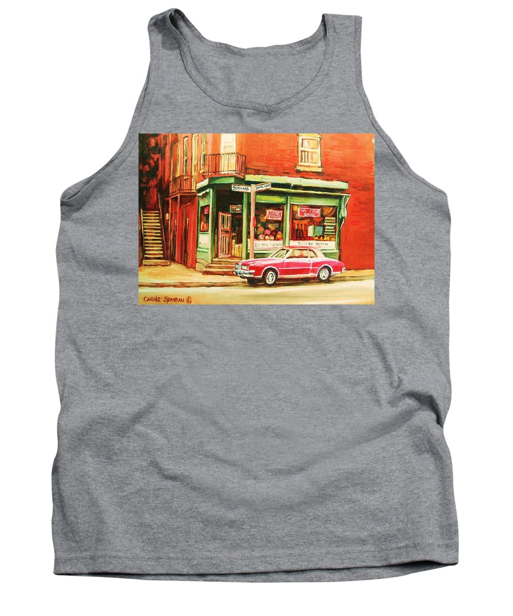 Montreal Tank Top featuring the painting The Arcadia Five And Dime Store by Carole Spandau