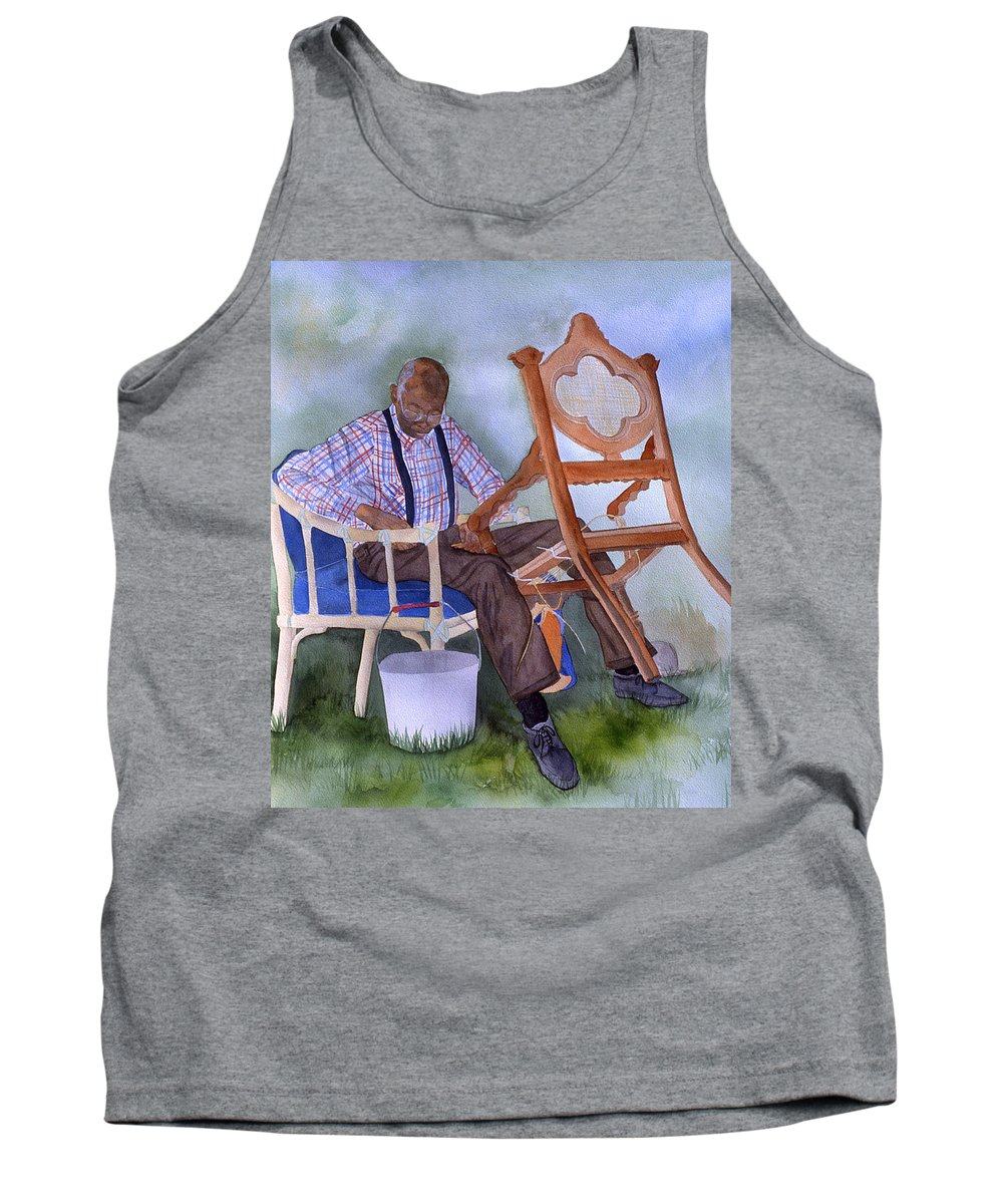 Portrait Tank Top featuring the painting The Art Of Caning by Jean Blackmer