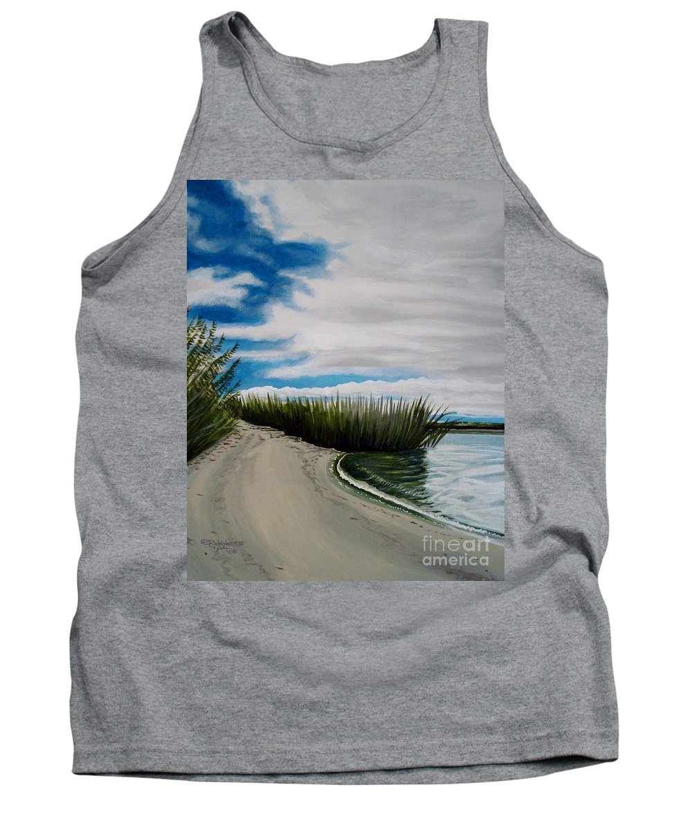 Beach Tank Top featuring the painting The Beach by Elizabeth Robinette Tyndall
