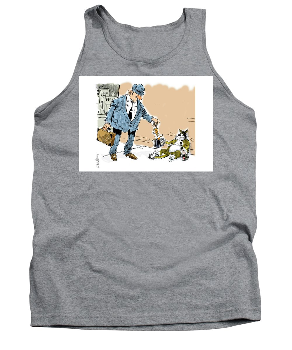 Street Scene Tank Top featuring the digital art The Beggar. by Bruce Bolinger