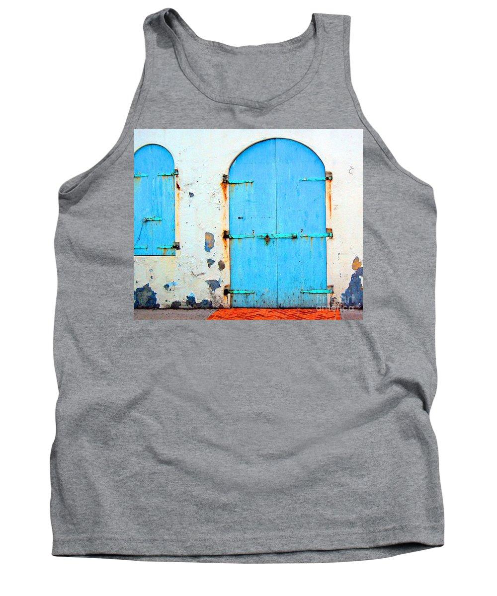Door Tank Top featuring the photograph The Blue Door Shutters by Debbi Granruth