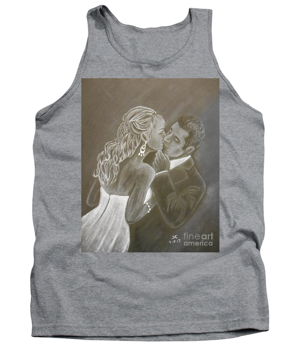 Weddings Tank Top featuring the drawing The Bride And Groom by Josetta Castner