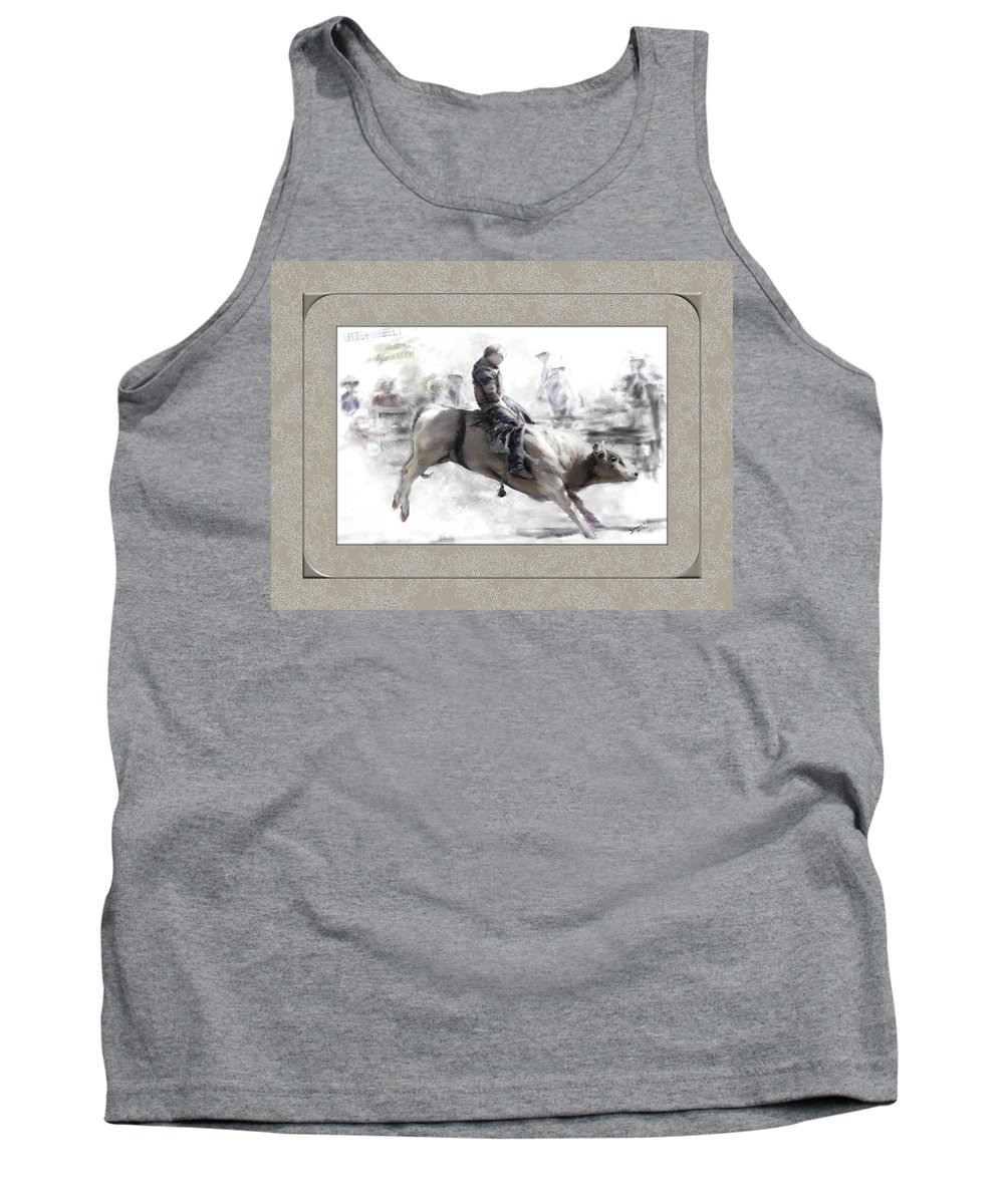 Bull Rider Tank Top featuring the painting The Bull Rider by Susan Kinney