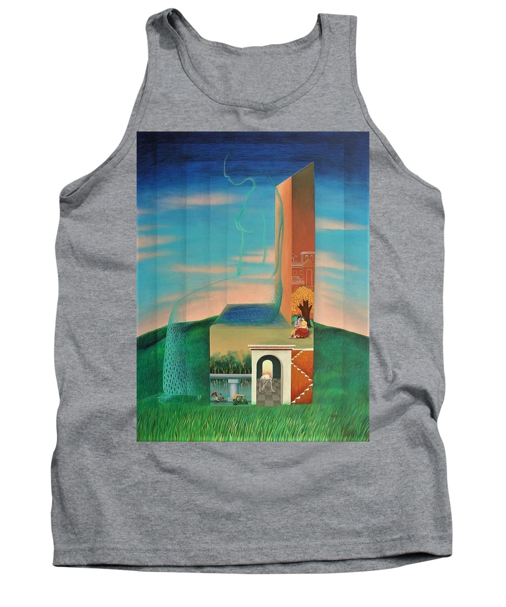 Romantic Tank Top featuring the painting The Chair For You by Raju Bose