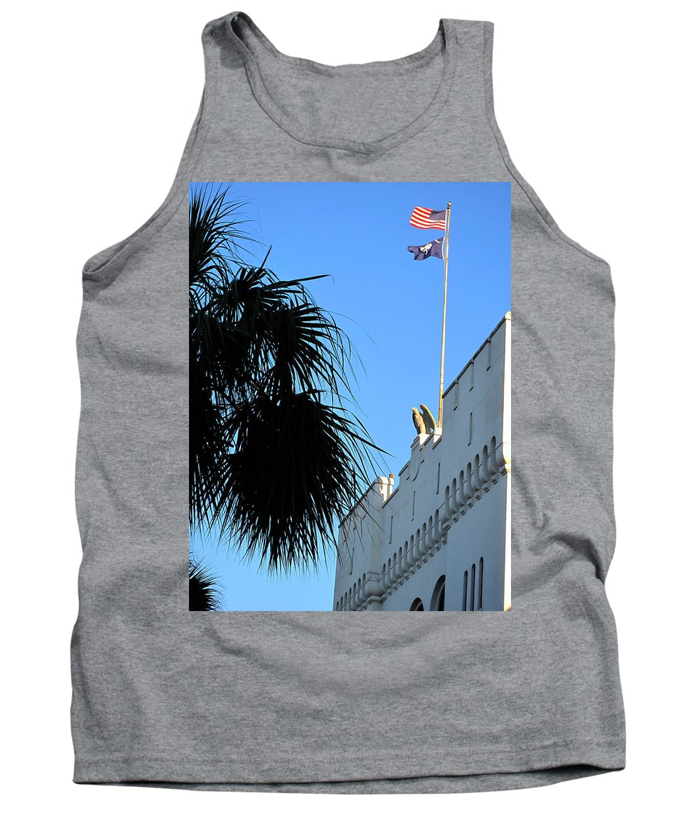 Photography Tank Top featuring the photograph The Citadel In Charleston by Susanne Van Hulst