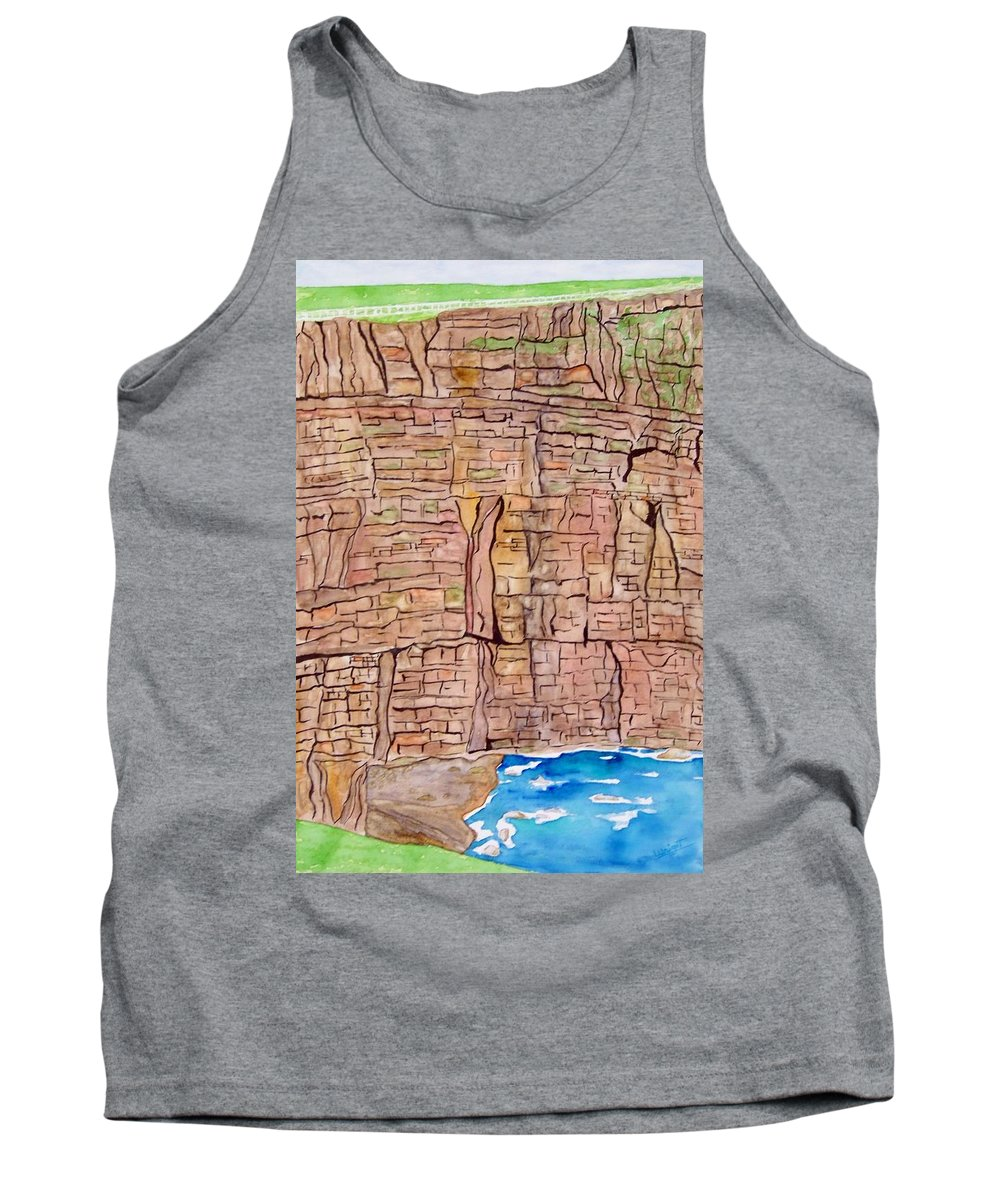 Ireland Art Tank Top featuring the painting The Cliffs Of Mohr In Ireland by Larry Wright