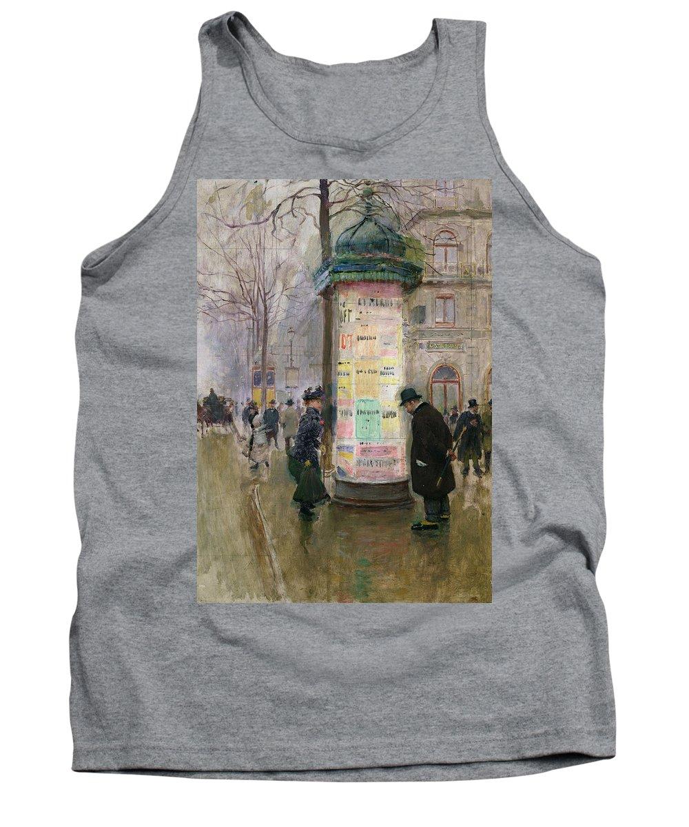 Poster Kiosk; Bill Board; Advertisement; Paris; Street Scene; Advertising; Hoarding; Urban; Winter; Grey Weather; Urban; Pavement Tank Top featuring the painting The Colonne Morris by Jean Beraud