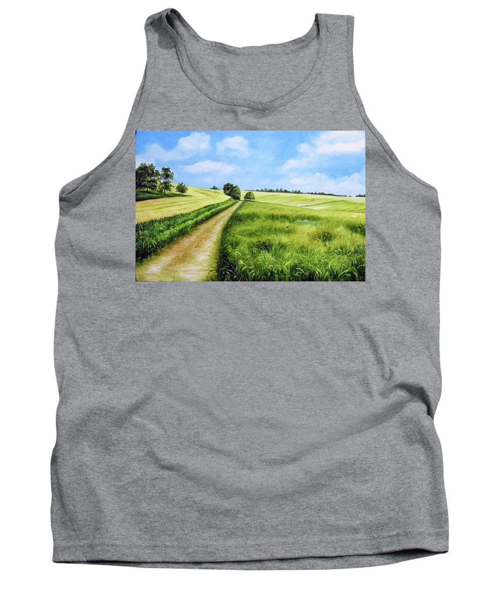 Derby Tank Top featuring the painting The Derbyshire Dales by Sean Afford