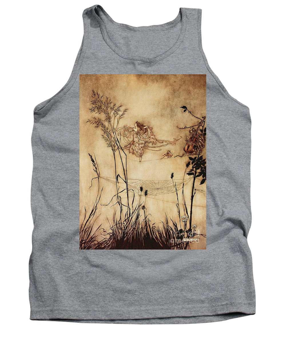 Woman Tank Top featuring the drawing The Fairy's Tightrope From Peter Pan In Kensington Gardens by Arthur Rackham