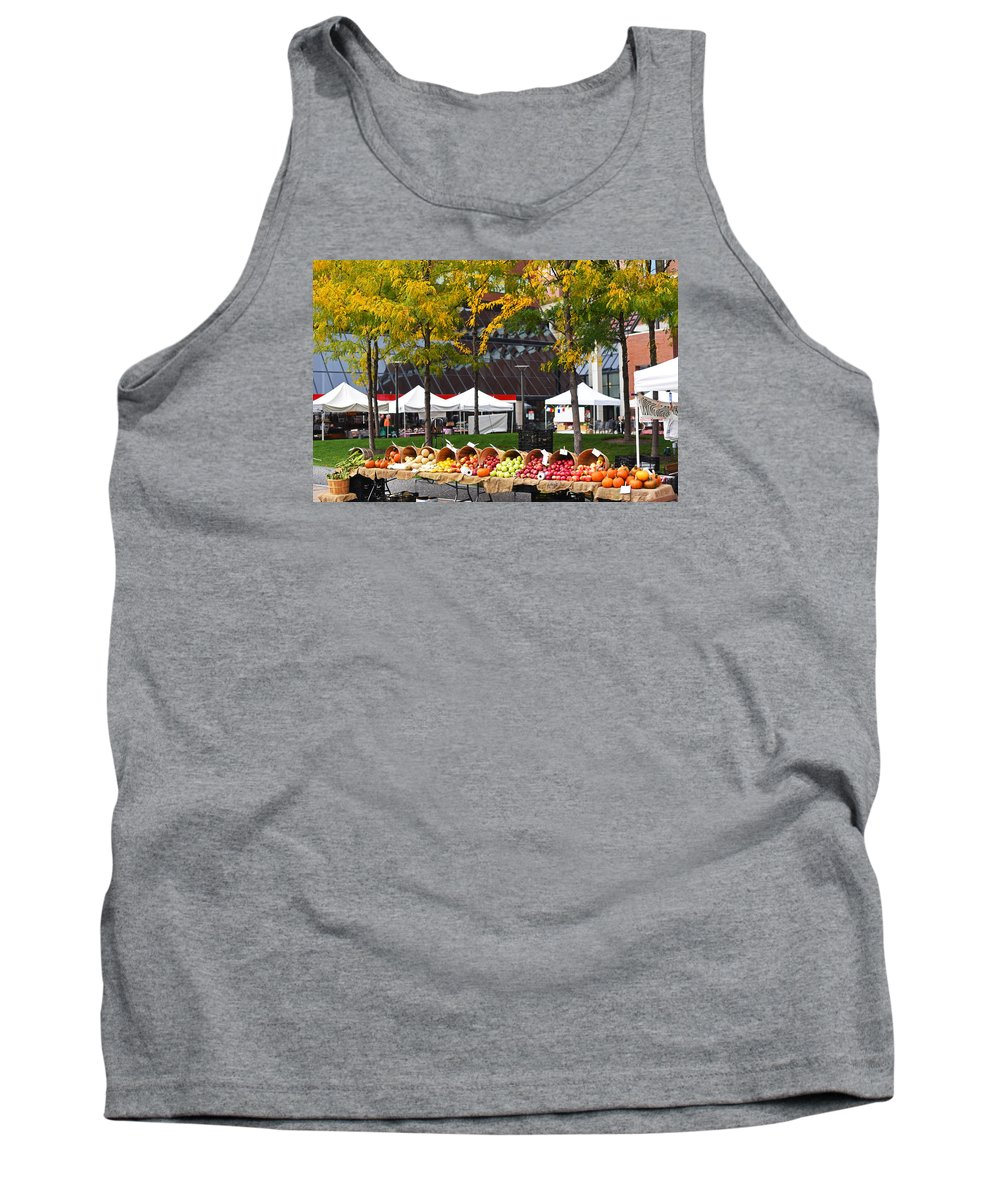 Kendall Tank Top featuring the photograph The Fall Harvest Is In Kendall Square Farmers Market Foliage by Toby McGuire