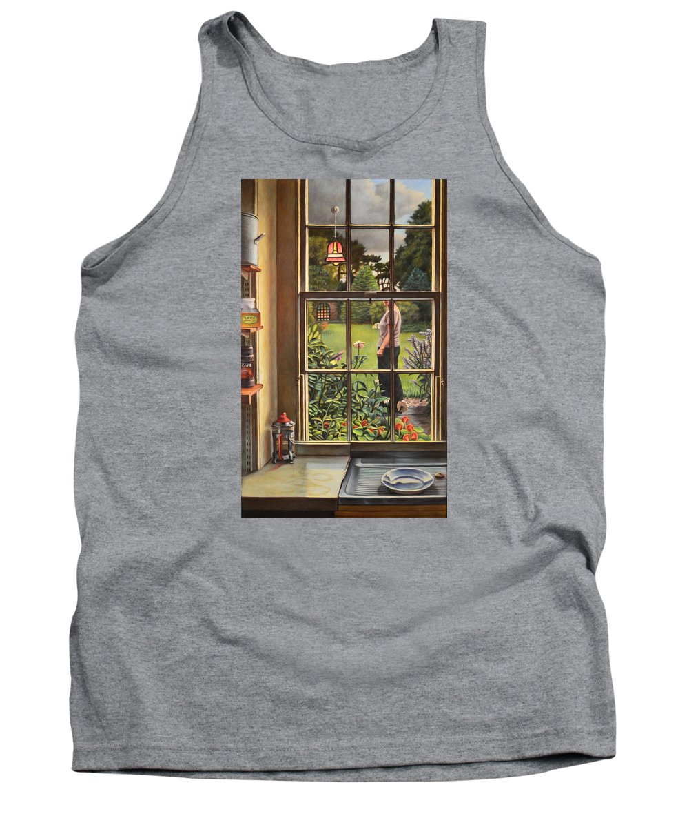 Figure Tank Top featuring the painting The Garden by Kenneth Cobb