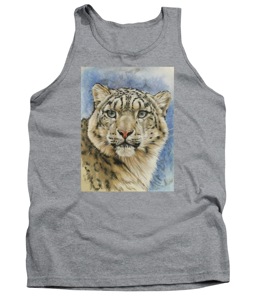 Snow Loepard Tank Top featuring the mixed media The Gaze by Barbara Keith