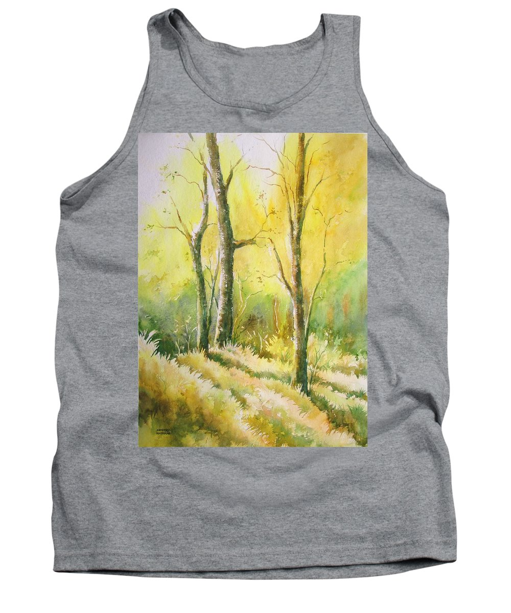 Landscapes Tank Top featuring the painting The Golden Trio by Sandeep Khedkar