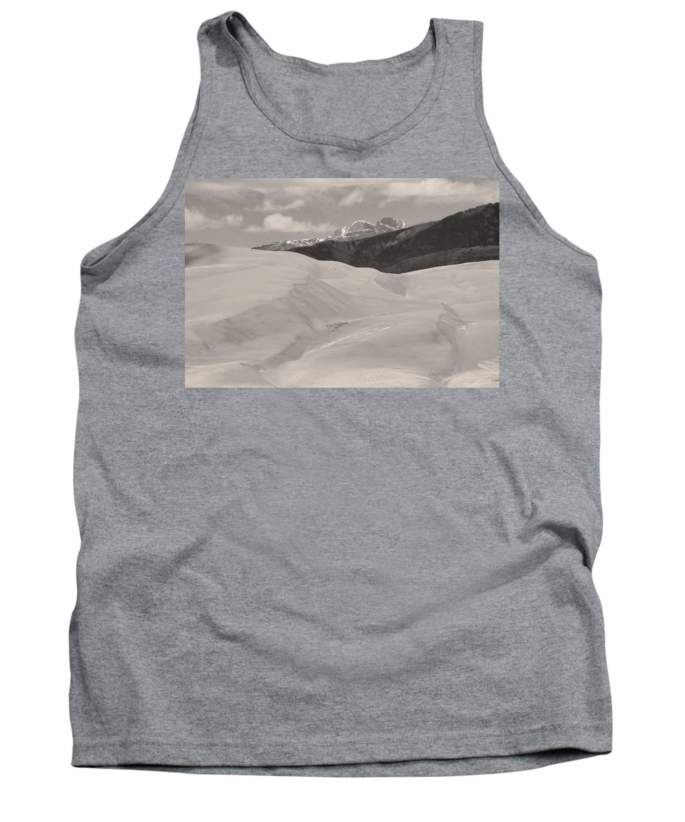 the Great Colorado Sand Dunes Tank Top featuring the photograph The Great Sand Dunes Bw Sepia by James BO Insogna