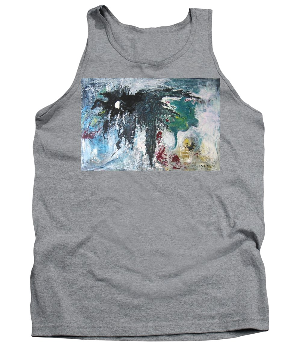 Abstract Paintings Tank Top featuring the painting The Half Moon by Seon-Jeong Kim