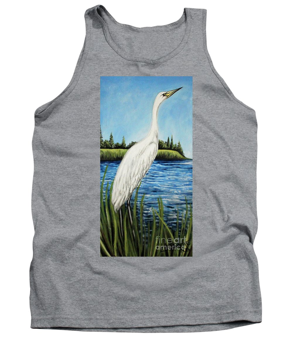 Landscape Tank Top featuring the painting The Island's Egret by Elizabeth Robinette Tyndall