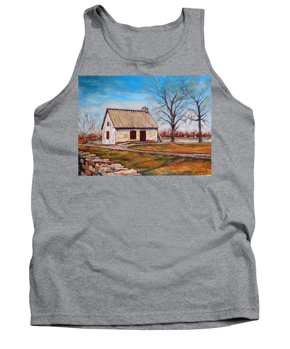 Ile Perrot Tank Top featuring the painting The Lake House by Carole Spandau
