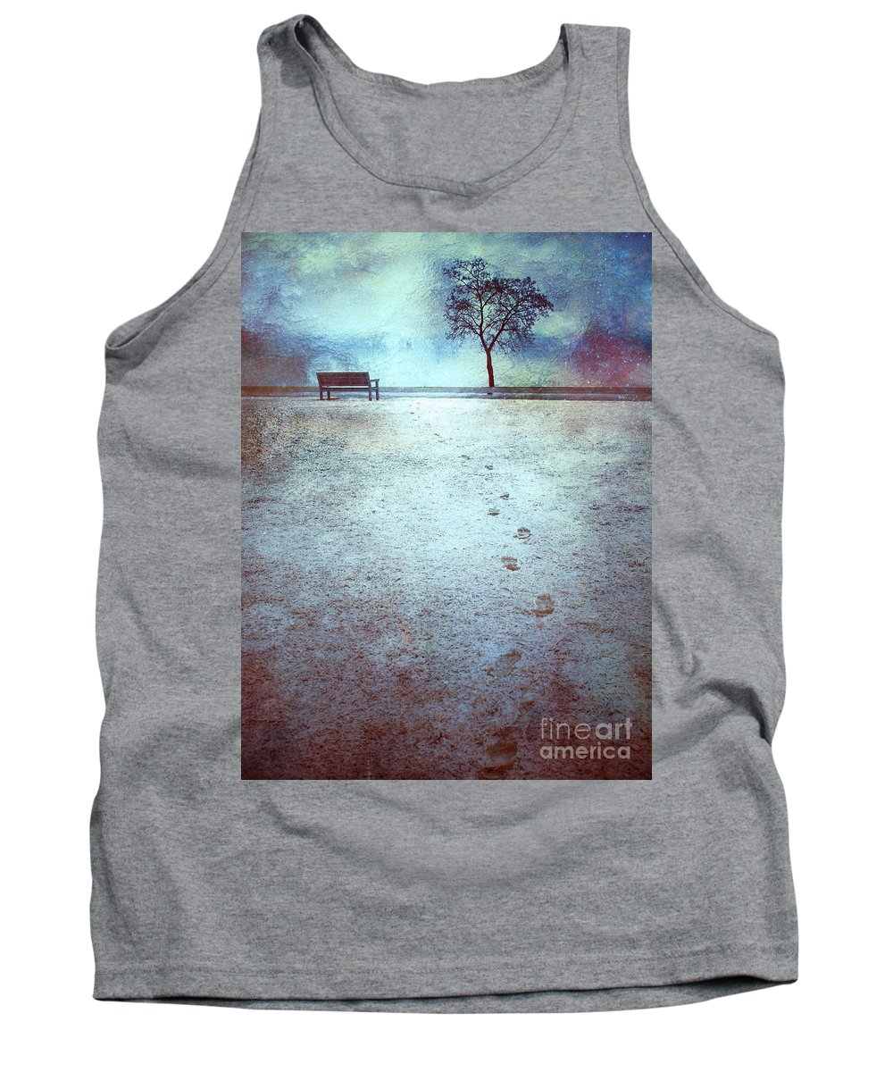 Bench Tank Top featuring the photograph The Last Snowfall by Tara Turner