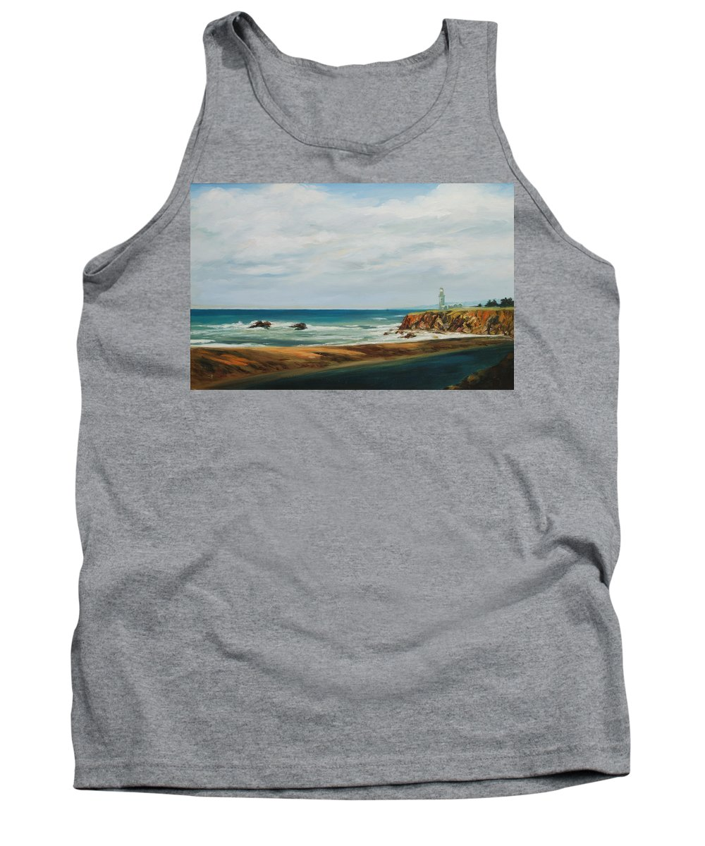 Seascape Tank Top featuring the painting The Light House by Rick Nederlof